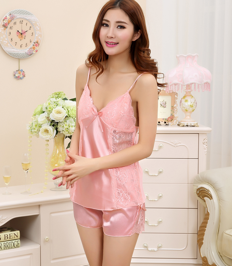 1044f9a953d Free shipping women lace sexy nightdress girls pajamas sets pink Braces  skirt Luxurious Sleepwear nightgown night dress Y108-in Pajama Sets from  Underwear ...