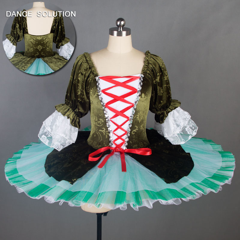 Classical Ballet Dance Tutu with Removeable White Lace Sleeve for Adult Girls Ballet Dancing Pancake Tutu