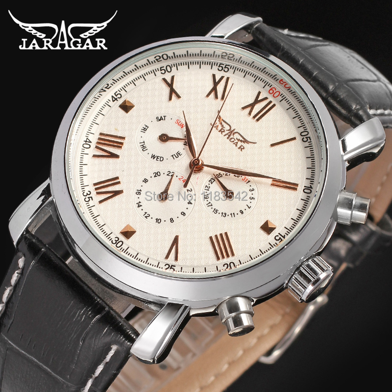 JAG6540M3S1 Jargar   new  Automatic  fashion dress watch silver  color with black leather band for men free shipping jargar automatic fashion dress watch silver color with black leather band free shipping jag6458m3s2