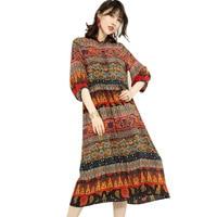 Длинное платье оригинальный дизайн личность Национальный стиль печати 2018 женская летняя шелковое один слой CK9302