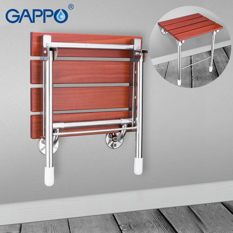 GAPPO Wall Mounted Shower Seat wall mounted bathroom chair folding bath seat solid wood stainless steel bench wall chairs