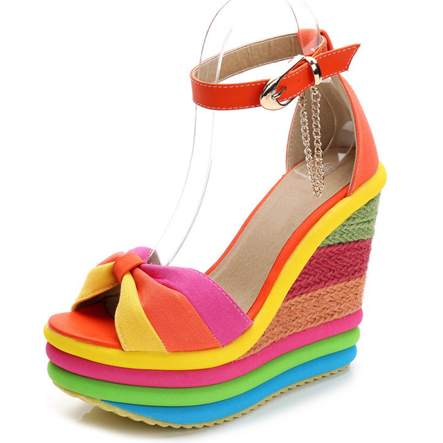 Colorful Elegant Party Platform Sandals