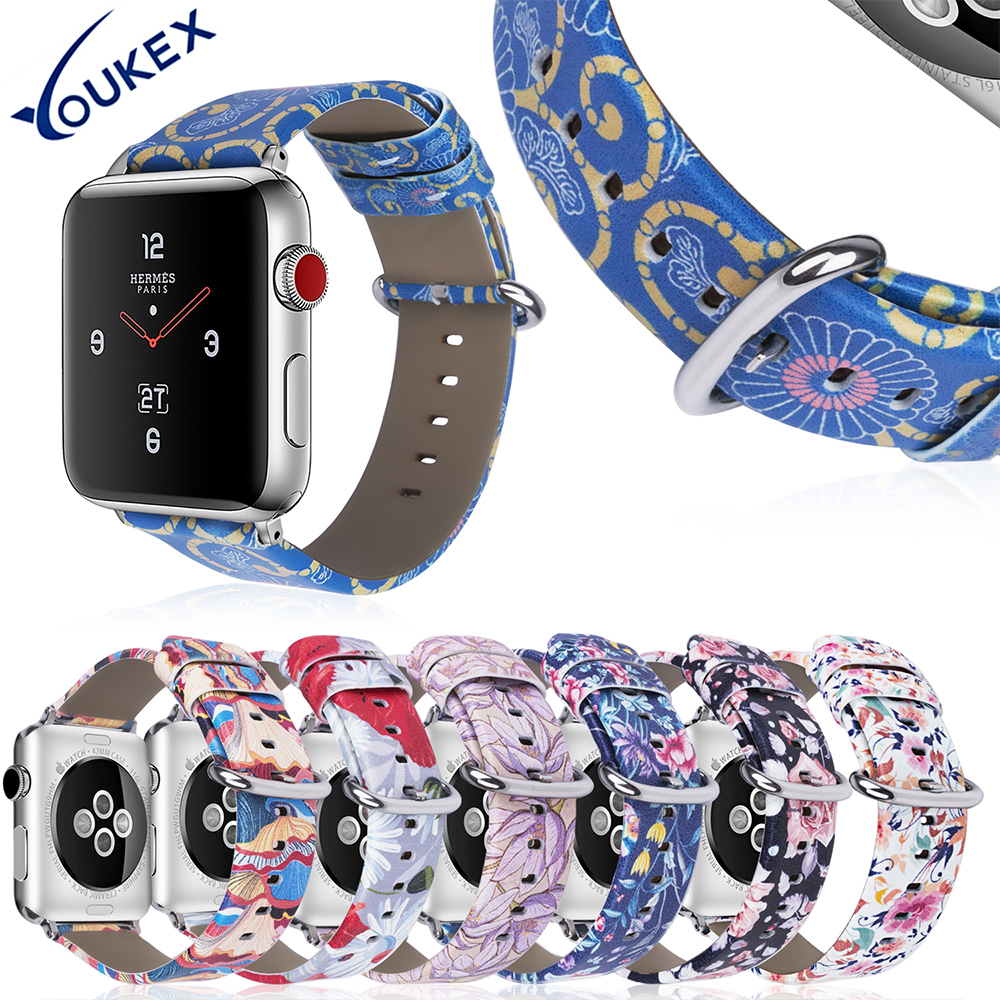 YOUKEX Fashion Flower Leather Band for Apple Watch 38mm 40mm 42mm 44mm Replacement Strap Bracelet For iwatch Series 1 2 3 4 20 colors sport band for apple watch band 44mm 40mm 38mm 42mm replacement watch strap for iwatch bands series 4 3 2 1