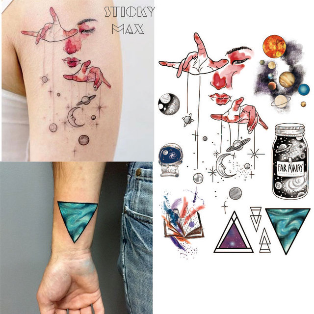 W15 1 Piece Outer Space Universe Temporary Tattoo With Space Geometric, Planet, Astronaut Pattern Body Paint Tattoos