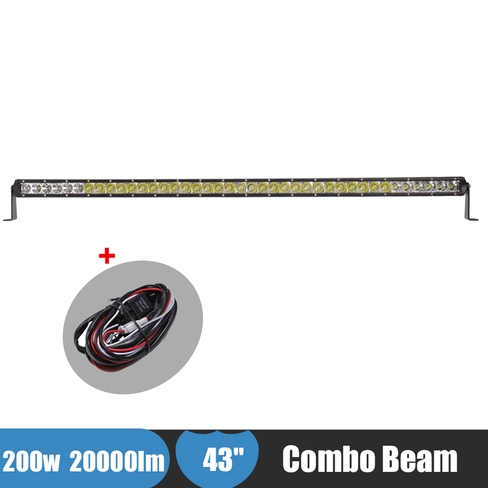 200W Offroad Led Light Bar Truck Car ATV UTB SUV 4X4 4WD 43 Inch Driving Light Combo Beam Fog Lamp For Volkswagen AUDI Hummer