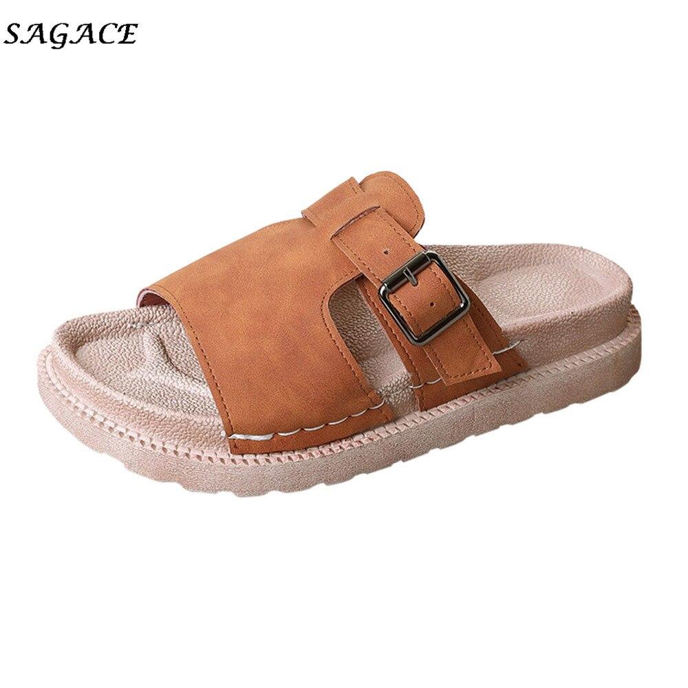 e68c3c69b7 Melhor SAGACE Sapatos de Couro Das Mulheres Mulheres de Verão Estilo Moda  Grosso Cinto Não slip fivela de fundo chato Chinelos Plana Chinelos de  verão ...