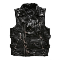 For Harley Motor rider Mens cow leather vest slim fitting genuine cowhide leather motorcycle rider vest