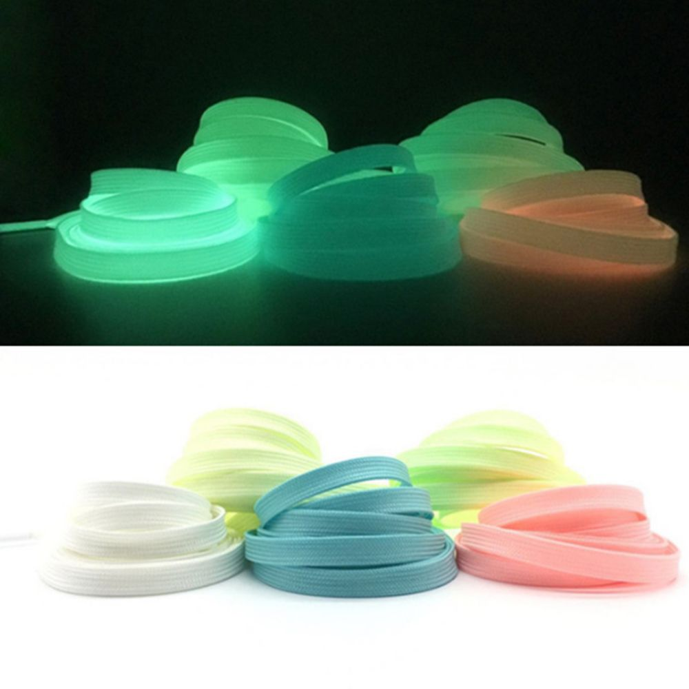 1pc 8mm*1m Sport Luminous Shoelace Glow In The Dark Night Color Fluorescent Shoelace Athletic Sport Flat Shoe Laces Hot