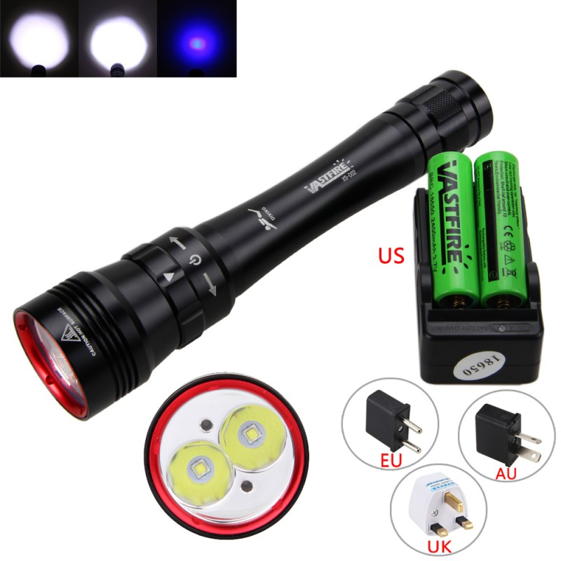 Ultraviolet Lantern 2XML L2 LED+2x Blue LED White Purple Light Underwater 100m Diving Flashlight Torch+18650 Battery/Charger 502b 1set tactical flashlight xml t6 led torch lamp lantern led flashlight light lantern rechargeable 18650 battery car charger