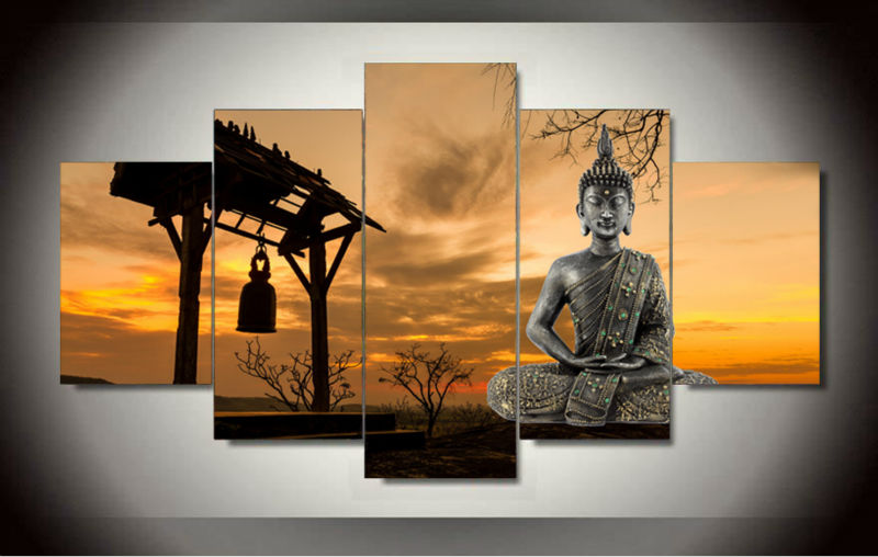 Framed art 5 panel wall art buddha group oil painting for Home interiors and gifts framed art