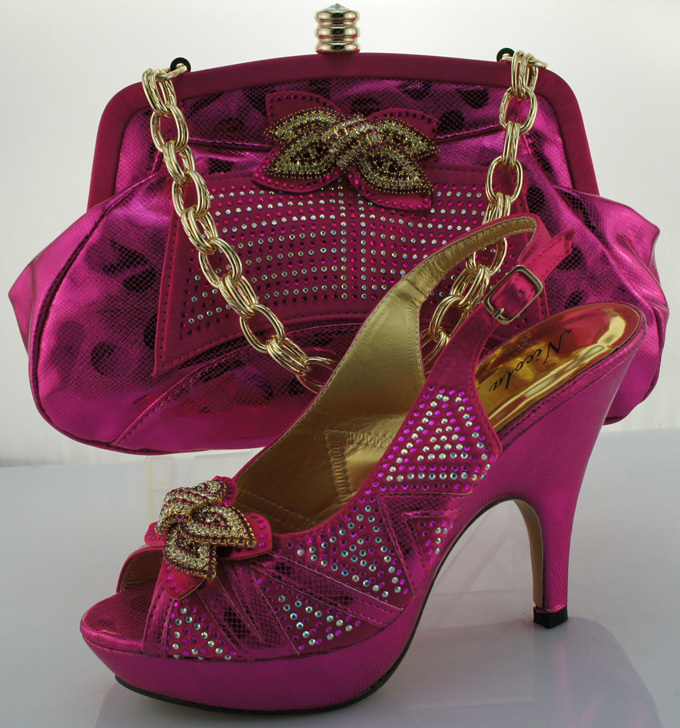 ФОТО New coming Italian shoes and matching bag 2016 italy design for African party dress size 38-42 ME0013 Fuchsia+pink