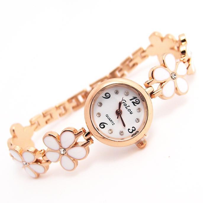 Luxury Rose Gold Flower Bracelet Watches Women Rhinestone Ladies Fashion Crystal Dress Quartz Wristwatch go122 fresh beads rhinestone flower bracelet for women