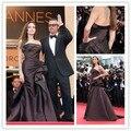 Cd01 nueva de elegante Angelina Jolie Festival de Cannes 2015 vestidos de noche sin tirantes bajo la cintura camisa corta vestidos noche robe de soirée