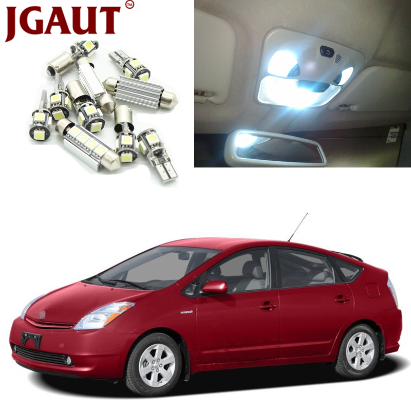 JGAUT 7pcs White LED Lights Interior Package Kit For 2004-2015 Toyota Prius Map Dome Licens Trunk/Cargo area Step/Courtesy Light
