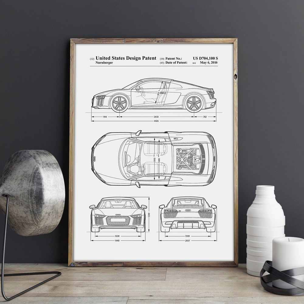 Car Enthusiast,Audi R8 artwork, Auto wall art ,Transportation poster, room  decor, print,blueprint, gift idea,wall Decorations