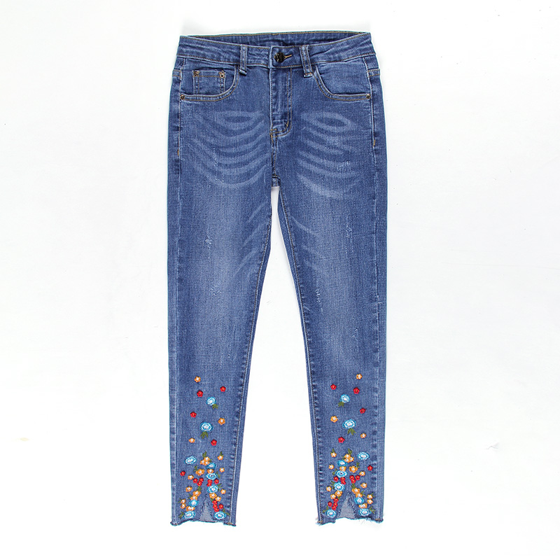 2017 Vintage Plus Size Embroidered Ankle-Length Pants Pencil Jeans Large Size slim Denim Pants Stretch Female Denim Skinny Pants rosicil new women jeans low waist stretch ankle length slim pencil pants fashion female jeans plus size jeans femme 2017 tsl049