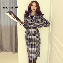 2018 Plus Size Plaid Double-breasted Vintage Woolen Coat Women Turn-down Collar Houndstooth Long Elegant Female Warm