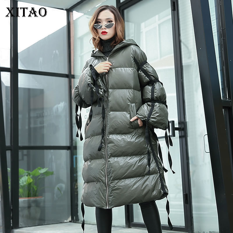 [XITAO] 2018 Winter Korea Fashion New Women Hooded Collar Full Sleeve A-line Casual Loose Thick Solid Color   Parka   ZLL2443