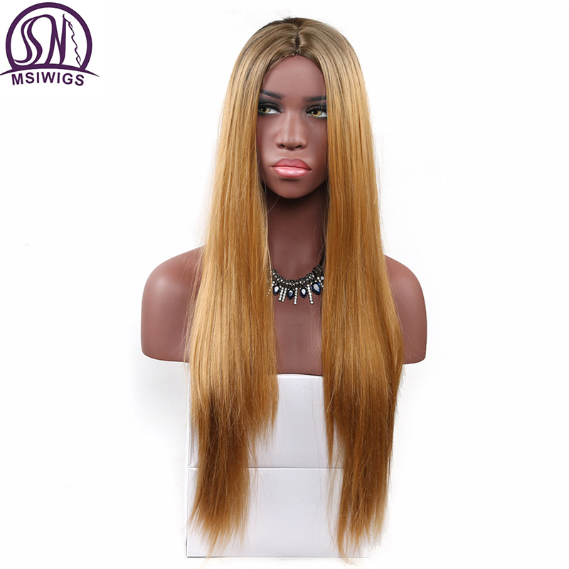 MSIWIGS 26 Inches Long Two Tones Pink Wig Blonde Straight Synthetic Wigs for Women Heat Resistant Natural Ombre Hair