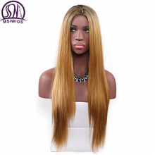 MSIWIGS 26 Inches Long Two Tones Pink Wig Blonde Straight Synthetic Wigs for Women Heat Resistant Natural Ombre Hair недорого