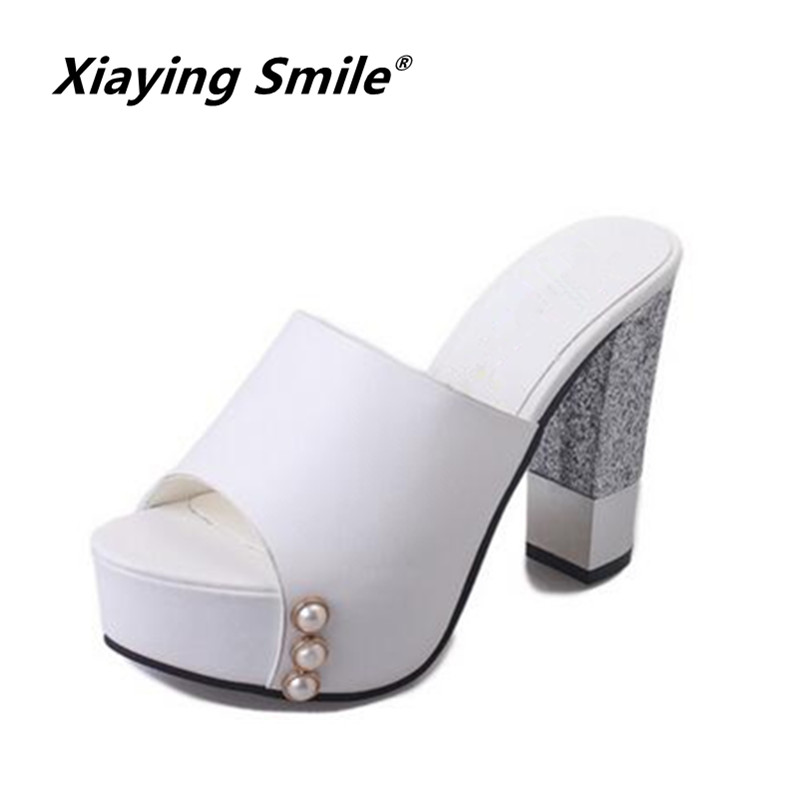Xiaying Smile Summer Woman Sandals Shoes Women Pumps Platform Hoof Heel Fashion Casual Sring Bead Women Shoes xiaying smile summer woman sandals square cover heel woman pumps buckle strap fashion casual flower flock student women shoes
