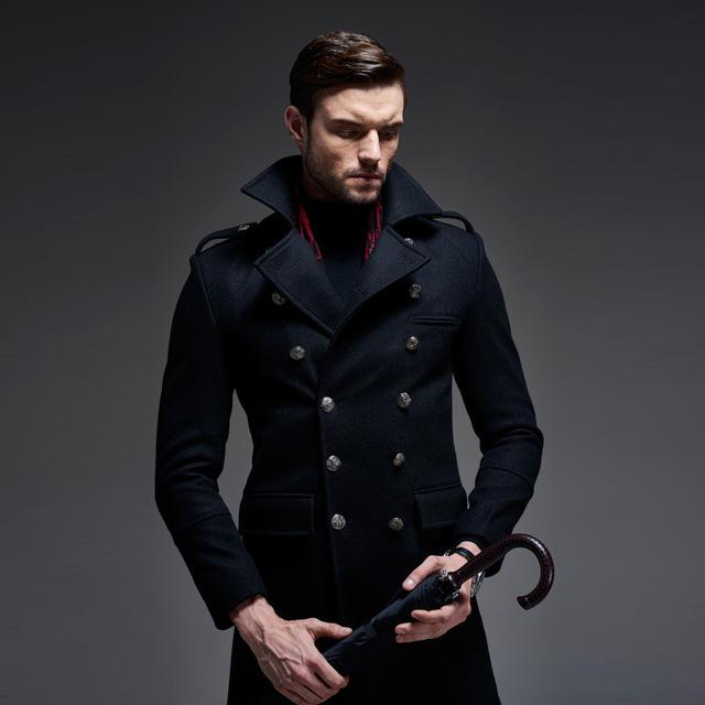 Outono/Inverno Roupa Nova 2016 Double Breasted Casaco de Lã Para Homens Causal Alemanha Marca de Alta Qualidade Casaco De Lã Longo Casaco de ervilha