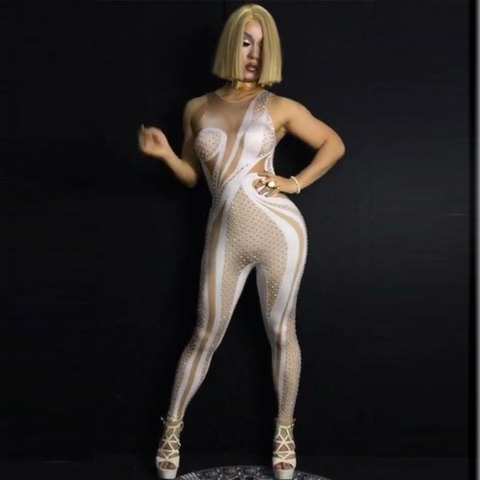 Sexy Sparkly Impresso Macacão Bling Rhinestone Aniversário Celebrar Outfit Costume Show Bodysuit Desgaste Desempenho Cantora