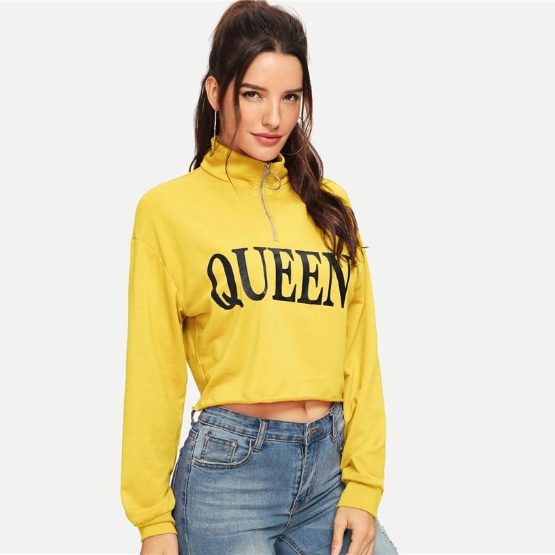 Queen Letter Print Pull Zip Raw Hem Yellow Sweatshirt For Women