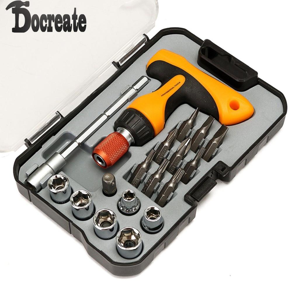 18Pcs Ratchet T-Handle Mini Screwdriver Multi Bit Socket Hex Tools Handle DIY 38 in 1 cr v steel sockets bit ratchet handle for automobile car repairing socket