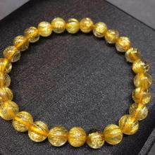 Certificate Natural Gold Rutilated Quartz Titanium Crystal Bracelet Woman Man Gemstone Round Beads 7mm Jewelry Fashion AAAAA