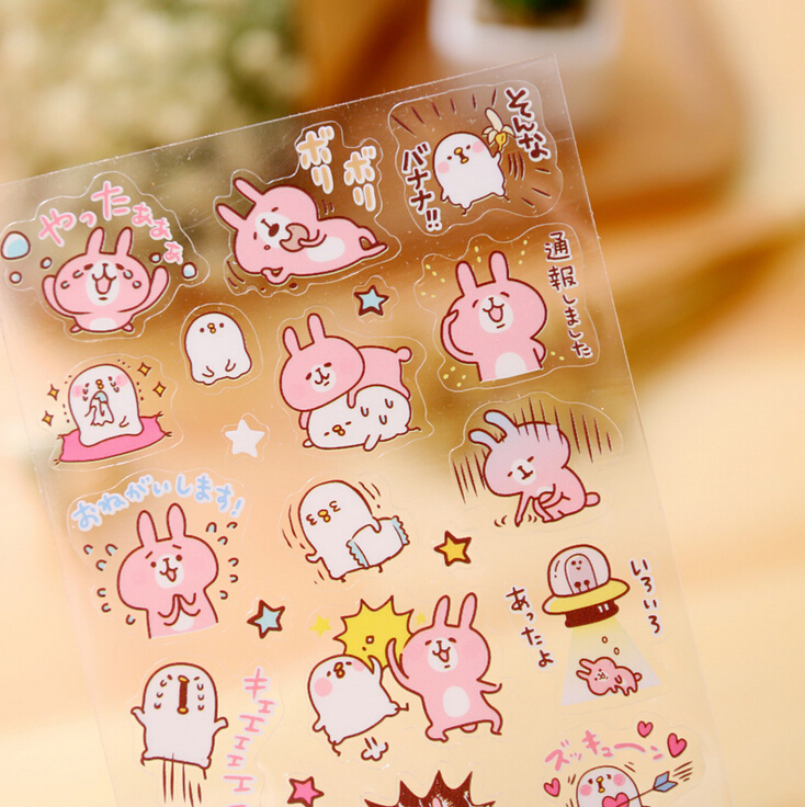 Novelty Bunny Animals Transparent Decorative Sticker Diary Album Label Sticker DIY Scrapbooking Stationery Stickers Escolar колонки автомобильные pioneer ts 1301i