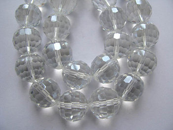 5strands 16mm crystal like craft bead round ball faceted clear white assortment jewelry beads