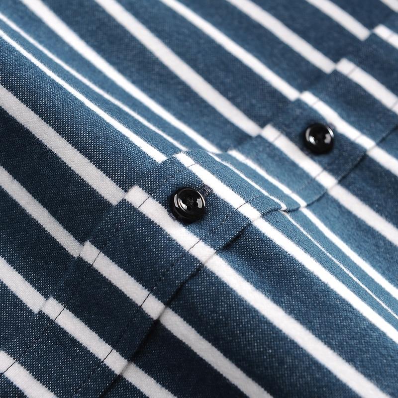 6569bb10c3 Vestido Da Listra Horizontal Camisa No bolso de Algodão dos homens de Manga  Longa Slim fit Botão down Confortável Lazer camisas de Flanela escovado em  ...