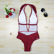 Red solid Swimsuit One-piece Women Swimsuit with sexy Fungus Lace