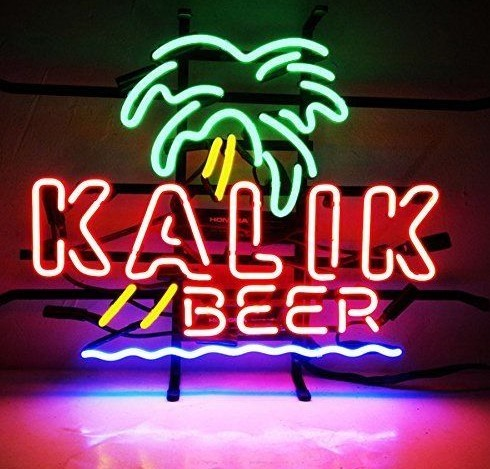 Custom Kalik Beer Palm Tree Lager Glass Neon Light Sign Beer Bar