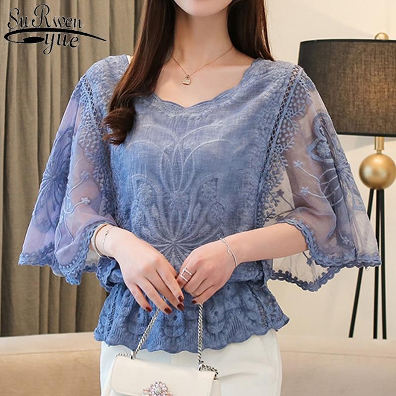 Fashion Woman Blouses 2019 Summer New Chiffon Blouse Cotton Edge Lace Blouses Shirt Butterfly Flowe Women Shirt Tops 4073 50