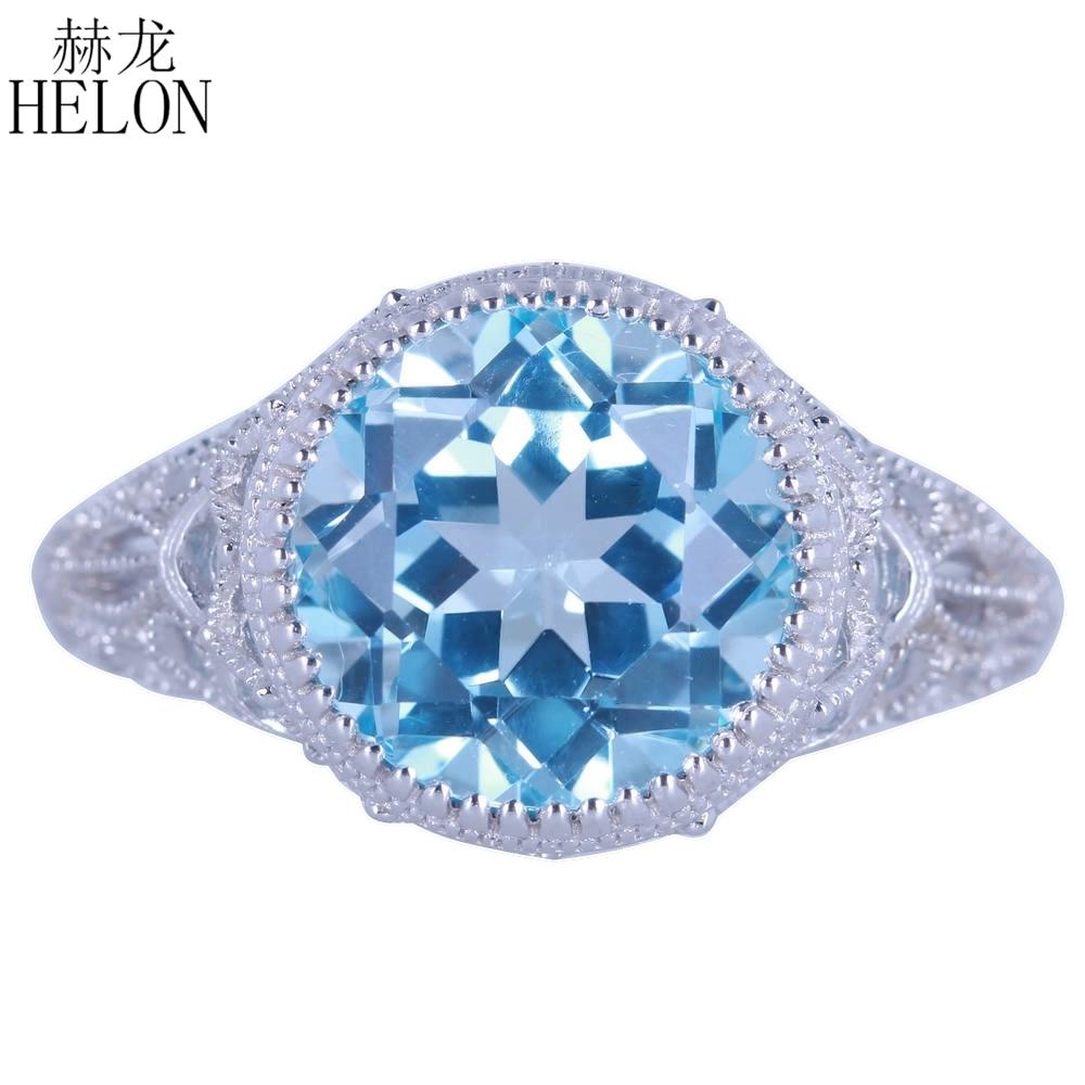 HELON Solid 14k (AU585) White Gold 4.89ct 100% Genuine Natural Blue Topaz Diamonds Ring Women Engagement Vintage Trendy Jewelry
