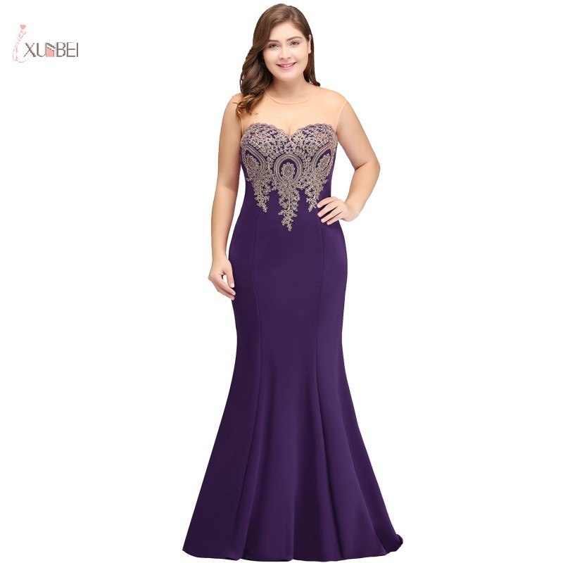 Purple Plus Size Long   Bridesmaid     Dresses   2019 Elegant Mermaid Sleeveless Applique Wedding Party Gown robe demoiselle d'honneur