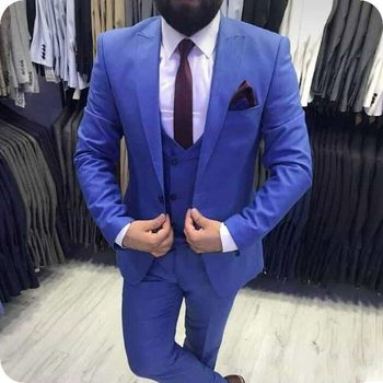 New Arrival One Button Blue Groom Tuxedos Groomsmen Peak Lapel Mens Suits Blazers (Jacket+Pants+Vest+Tie) W:1073