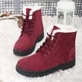 Mulheres Botas de Neve Quente Botas 2016 Tornozelo Moda Botas de Inverno Para As Mulheres Sapatos Preto Vermelho Plus Size 41 42 43