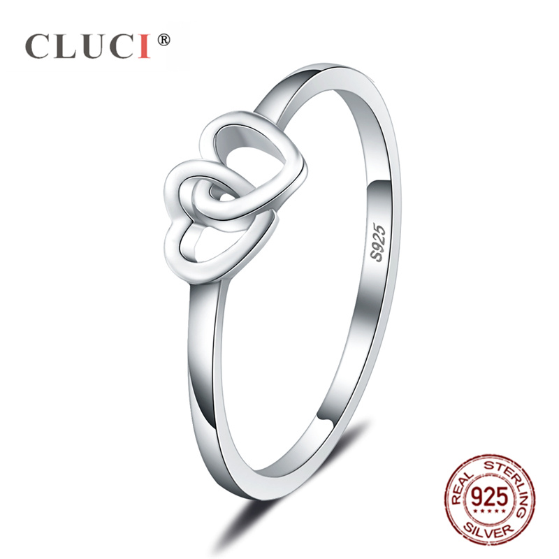 CLUCI Soild 925 Sterling Silver Love Heart Ring Brands New Jewelry Double Hearts Silver 925 Fashion Rings For Women Engagement