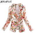 Blaser women blazer feminino floral suit 2016 new spring autumn fashion casual print women blazers and jackets plus size S2446