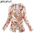 Blaser women blazer feminino floral suit 2017 new spring autumn fashion casual print women blazers and jackets plus size S2446