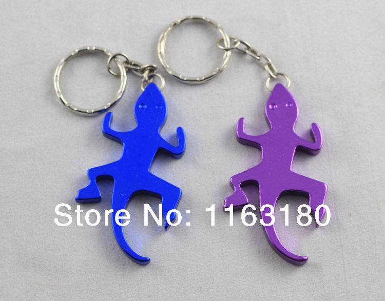72 pcs lot Beer Bottle Opener Lizard shaped KeyChains Aluminum Alloy Can Open Tools Promotion Gift