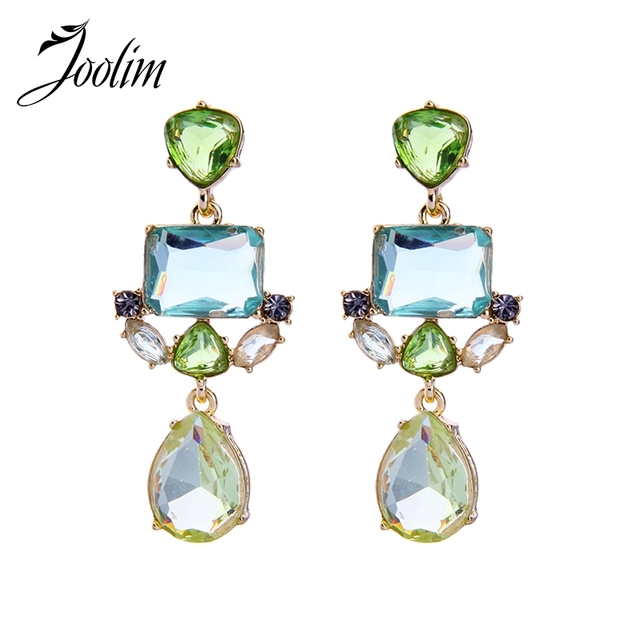 8b6c9ef6005eb US $3.51 19% OFF|Joolim Jewelry Chill Green Crystal Drop Earring Statement  Earring For Spring Summer Party Jewelry-in Drop Earrings from Jewelry & ...