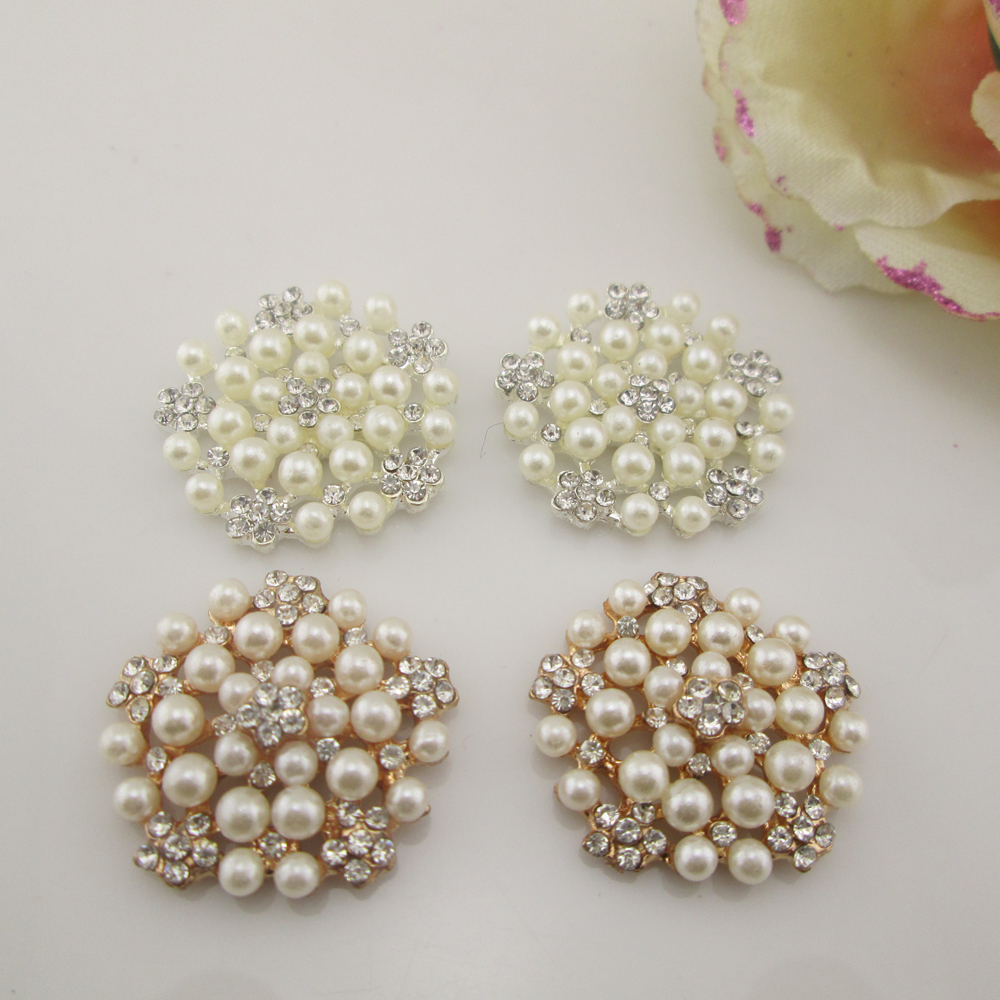 20x Crystal Diamante//Pearl Golden Button Flatback Embellishment Sewing DIY 20mm