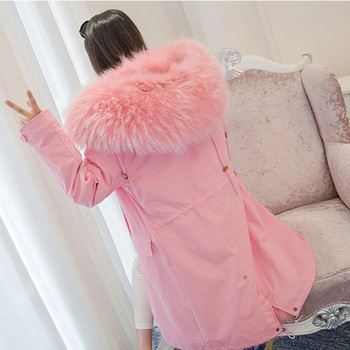 EMS FREE SHIPPING* 100% Natural Cotton Fabric Coat Fox Fur Gilet Inside, Big Raccoon Fur Trimming, Real Fur Jacket  BE-1627-2 1