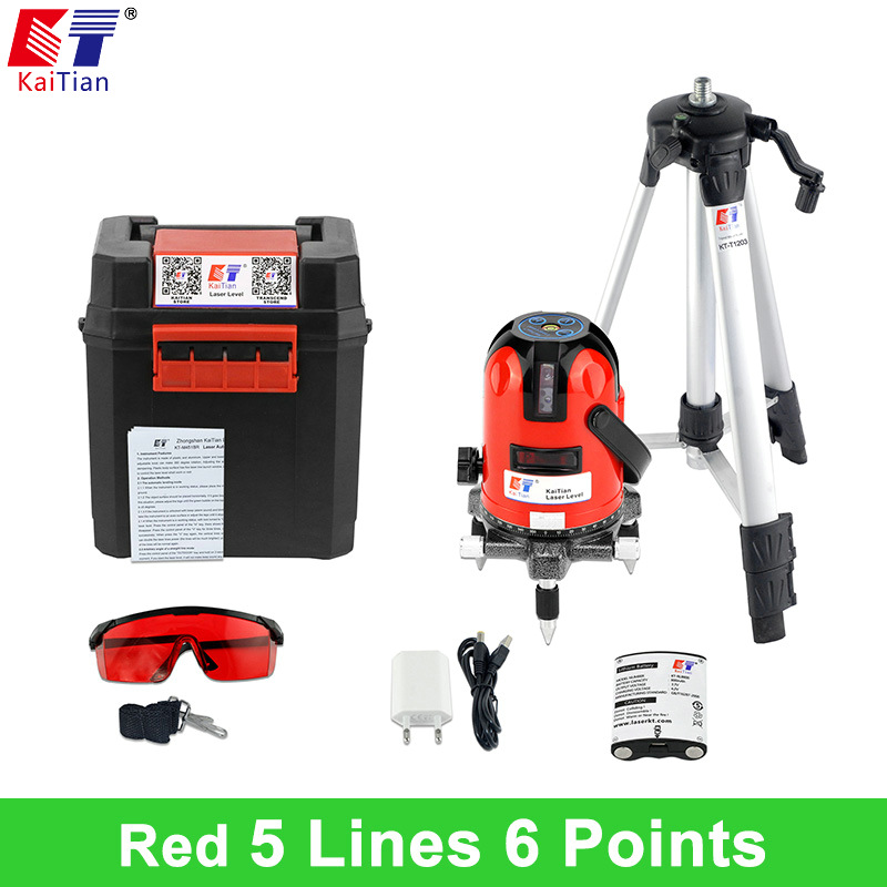 KaiTian 5 Lines 6 Points Laser Level Self Leveling Vertical Horizontal lines Beam Outdoor Mode 360 Rotary with Tripod Battery quality mtian level laser 5 lines 6 points instrument levels 360 self rotary 635nm corss line lazer level tools fast delivery
