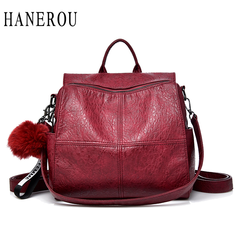HANEROU Women Sheepskin Leather Women Backpack Full Ball Shoulder Bags Large Capacity School Backpacks Teenage Girl Travel Bag brand women backpack pu leather school backpacks for teenage girls shoulder bag large capacity travel bags