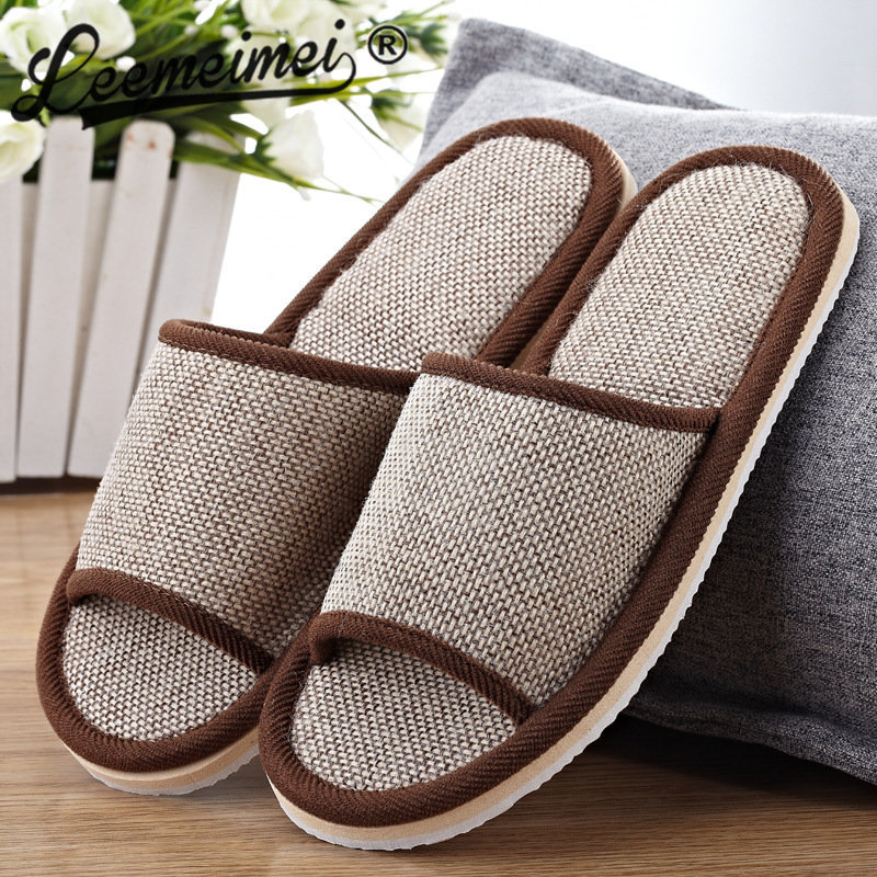 купить Natural Flax Home Slippers Indoor Floor Shoes Silent Sweat Slippers For Summer Women Sandals Slippers 37-43 по цене 291.71 рублей